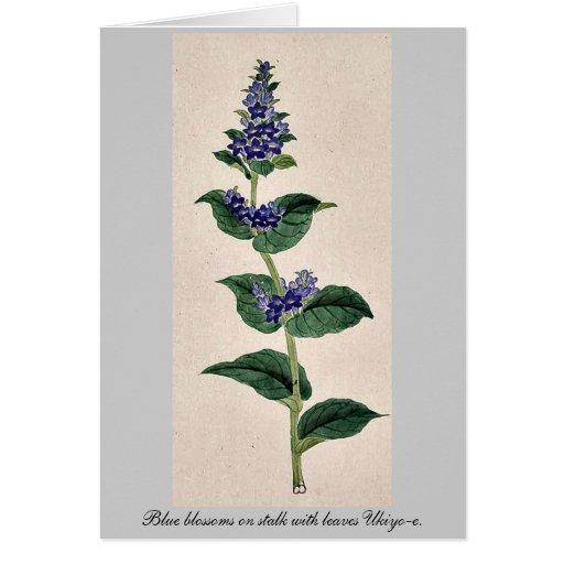 Flores azules en tallo con las hojas Ukiyo-e. Tarjetas