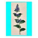 Flores azules en tallo con las hojas Ukiyo-e. Tarjeta Postal