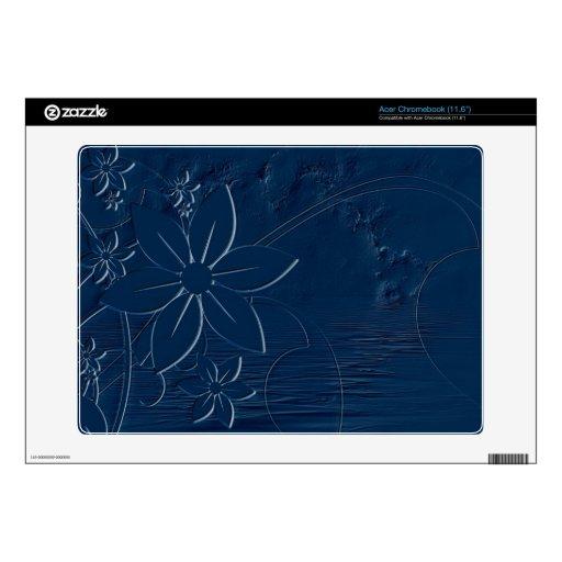 Flores azules en un fondo azul calcomanía para acer chromebook