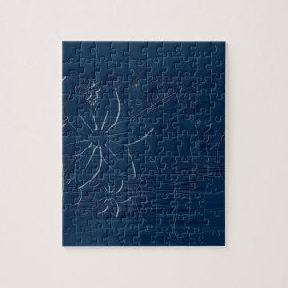 Flores azules en un fondo azul puzzles con fotos