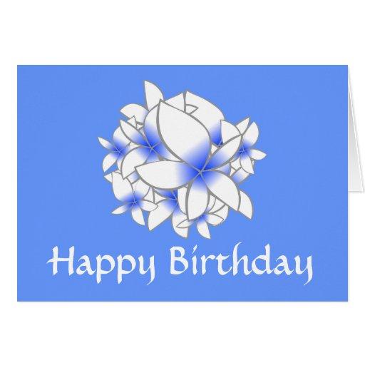Flores azules - feliz cumpleaños tarjeton