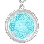 Flores azules hermosas pendiente personalizado