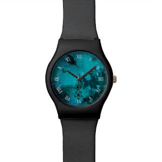 flores azules hermosas y buterfly arte del vector reloj de mano