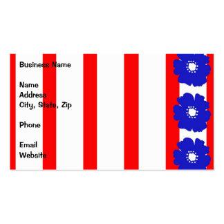 Flores azules intrépidas en rayas rojas y blancas tarjetas de visita