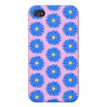 Flores azules pern en rosa iPhone 4 cárcasas