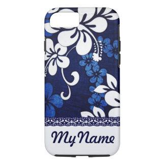 Flores azules personalizadas de Hawaii Funda iPhone 7