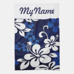Flores azules personalizadas de Hawaii Toallas De Mano
