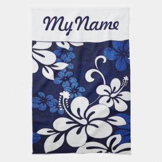 Flores azules personalizadas de Hawaii Toalla De Cocina