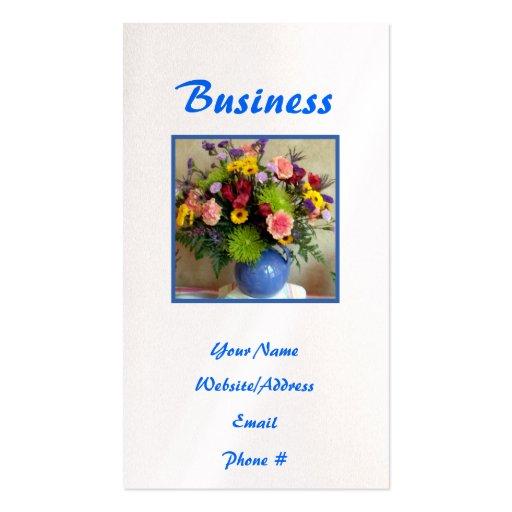 Flores azules pintadas de la jarra tarjetas de visita