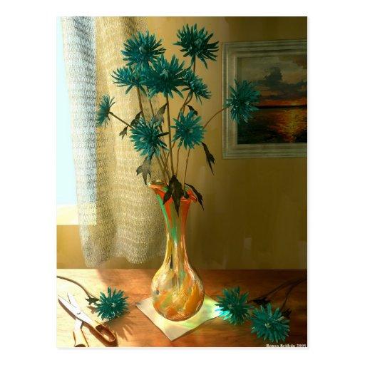 Flores azules postal
