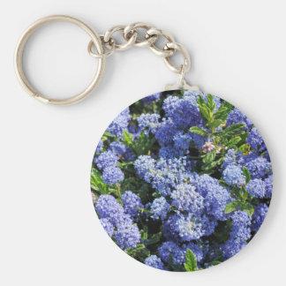 Flores azules púrpuras de Ceanothus Llavero Redondo Tipo Pin