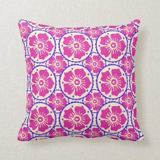 Flores azules púrpuras elegantes del estilo de la cojín