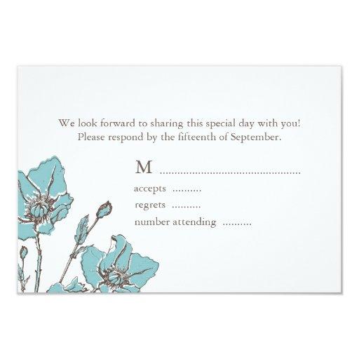 """Flores azules que casan las tarjetas de RSVP Invitación 3.5"""" X 5"""""""
