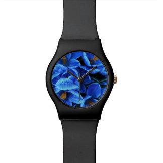 """Flores azules """" reloj"""