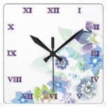 Flores azules suaves - reloj - 1