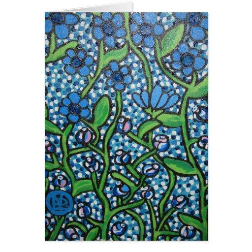 Flores azules tarjeta de felicitación
