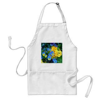 Flores azules y amarillas delantal