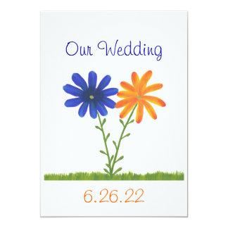 """Flores azules y anaranjadas, nuestras invitaciones invitación 5"""" x 7"""""""