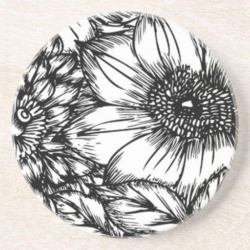 Flores azules y blancas del bosquejo posavasos manualidades