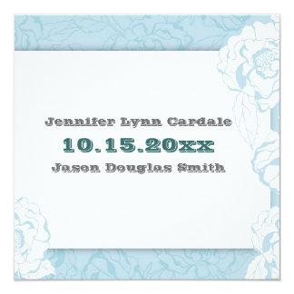 """Flores azules y blancas elegantes que casan el invitación 5.25"""" x 5.25"""""""