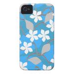 Flores azules y blancas. Modelo floral iPhone 4 Case-Mate Cárcasas