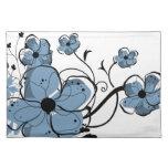 Flores azules y negras femeninas modernas manteles