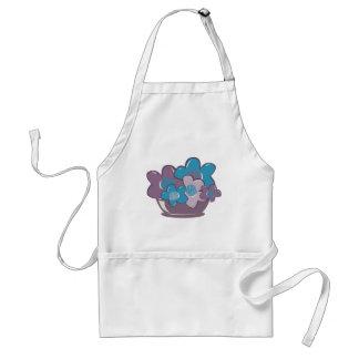 Flores azules y púrpuras delantal
