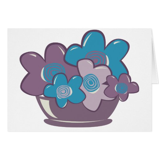 Flores azules y púrpuras felicitación