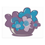 Flores azules y púrpuras postal