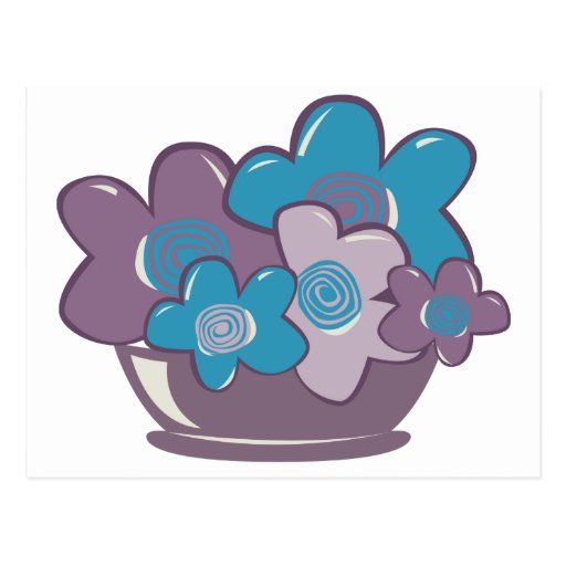 Flores azules y púrpuras tarjetas postales