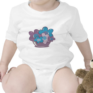Flores azules y púrpuras trajes de bebé