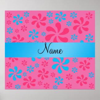 Flores azules y rosadas conocidas personalizadas póster