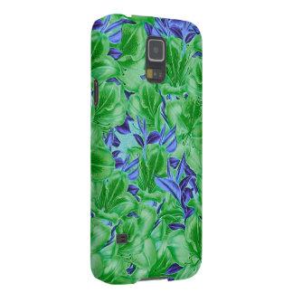Flores azulverdes vibrantes del vintage carcasa de galaxy s5