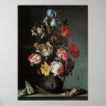 Flores barrocas del vintage de Balthasar van der Póster
