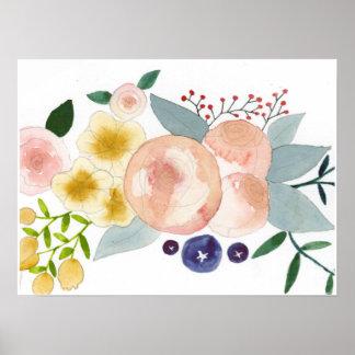 Flores, bayas, y poster de la acuarela de las