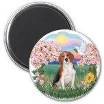 Flores - beagle 4 imán de nevera