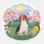 Flores - beagle 4 pegatina redonda