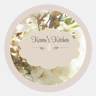 flores blancas 2 etiquetas del tarro de la especia pegatina redonda