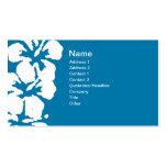 Flores blancas abstractas del hibisco en azul tarjetas de negocios