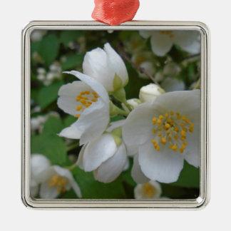 flores blancas adorno navideño cuadrado de metal