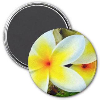 Flores blancas amarillas imán redondo 7 cm
