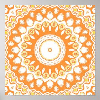 Flores blancas, amarillas y anaranjadas del caleid poster