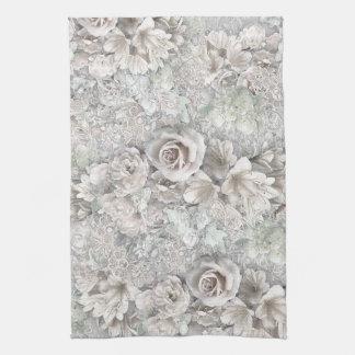 Flores blancas antiguas toallas de mano