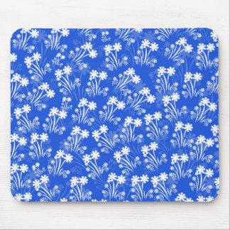 Flores blancas azules tapetes de ratón