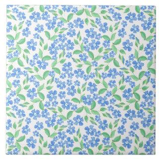 Flores blancas bonitas del bígaro del verde azul azulejo cuadrado grande