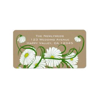 Flores blancas de la margarita de Gerber del vinta Etiqueta De Dirección