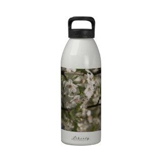 Flores blancas de la primavera botella de beber