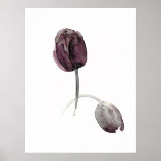 Flores blancas de la púrpura del poster de los tul