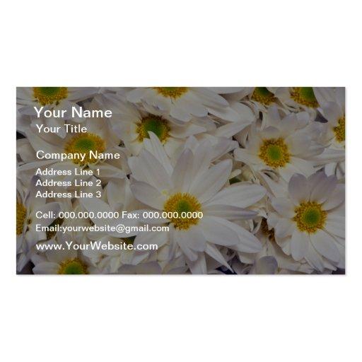 flores blancas de los crisantemos de la margarita  tarjeta de negocio