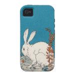 Flores blancas del conejo del vintage elegante vibe iPhone 4 carcasas